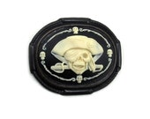 ON SALE Gothic Brooch - Unisex Jolly Roger Pirate Cameo Pin with Skull and Knife in Cream on Black by Ghostlove
