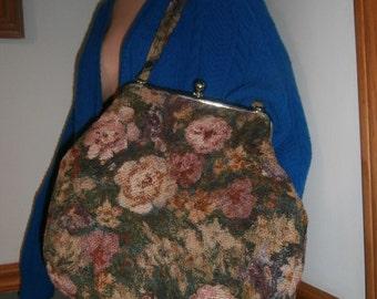 Womens Purse-Large Floral Tapestry Flower Handbag ~ Purse Vintage Bag