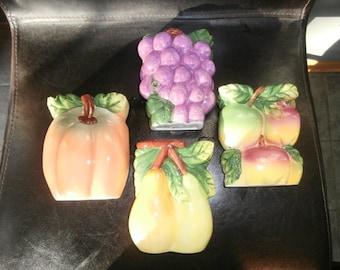 Fruit Set 1990's Retro Kitchen Wall Decoration Fruit Pumpkin- Grapes- Apple & Pear Wall Pockets