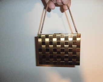 Womens Wristlet   Evening Purse~ Double Sided Carry All - Minaudiere Gold Tone Metal Compact Cigarette Case