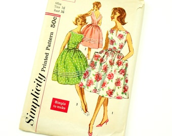 Vintage 1960s Misses Size 16 One Piece Wrap Around Dress Simplicity Sewing Pattern 3463 / bust 36 waist 28 / Factory Folds