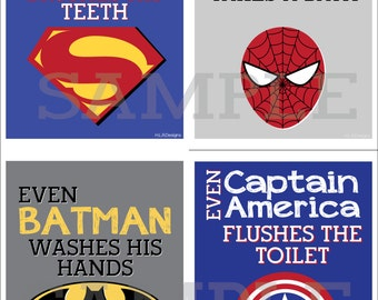 Superhero Bathroom Prints