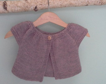 Organic merino wool little baby girl gardigan