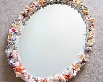 Beach Decor Custom Seashell Mirror, Nautical Decor Shell Mirror, Beach Home Decor Shell Wall Mirror, Coastal Decor, Beach House Decor #CMOVC