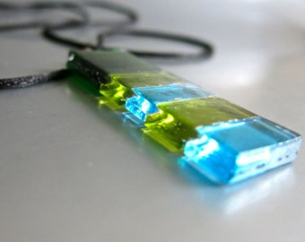 Hand Made Modern Fused Glass Long Pendant Necklace Transparent  Green, Lime, Blue