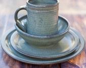 Gray Stoneware Dinnerware Set-- 4 piece Pottery Dinnerware Set Ceramic Stoneware Dishes - Stoneware Dinnerware Set