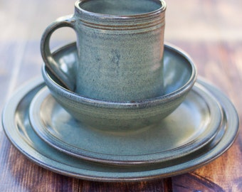 Gray Stoneware Dinnerware Set-- 4 piece Pottery Dinnerware Set Ceramic Stoneware Dishes - Stoneware Dinnerware Set