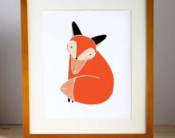 Woodland Fox Illustration, Fox Art Print, Fox Print, Woodland Art, Fox Nursery Art, Fox Children Decor, Woodland Animal Decor