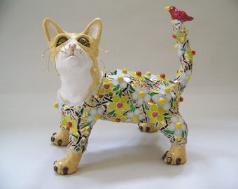 Mosaic Cat and Bird Sculpture - Purrs and Charm - Custom Pieces Available Upon Request