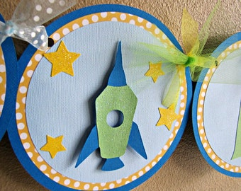 Rocket Party Banner, Rocket Birthday Banner, Rocket Party, Space Birthday Party, Rocket Banner, Outer Space Party, Rocket Ship Banner