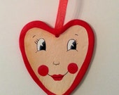 Valentine Heart Face Ornament Hand Painted Paper Clay