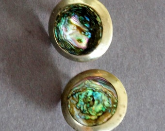 Vintage Earrings Abalone Inlay Rainbow Sterling Silver Round Disc Screw Backs