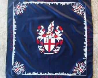 Vintage Scarf London Coat of Arms Domine Dirige Nos Souvenir Navy Red