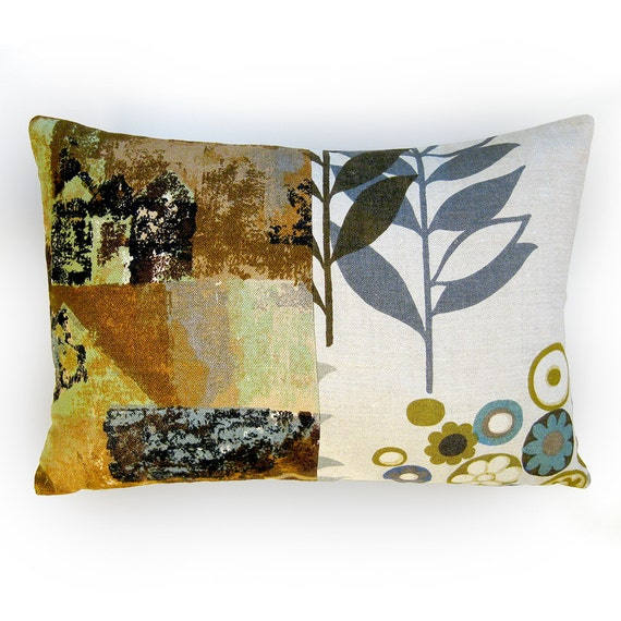 Mid Century Modern Pillow Covers : Throw Pillow Mid Century Modern Linen Pillow Cover 1950s