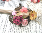 floral pendant necklace rose assemblage pink upcycle flower bird hand