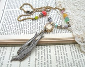pendant bird necklace assemblage watch upcycle ooak WING