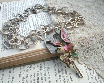 upcycle key necklace assemblage pendant bird eco friendly heart