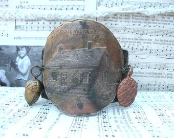 fall cuff recycle leather acorn pinecone assemblage cabin woodsy