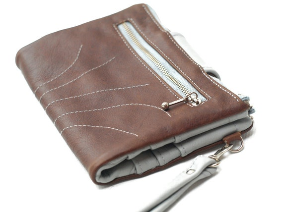 Leather Wallet Clutch Fold Over Wallet Sky Blue & Tan Brown Modern Wristlet Travel Kit