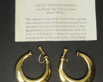 Celtic Torque Earrings. 24KGE. Replica from The MMA 1987. Marked.