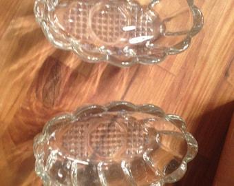 Vintage Crystal Spoon and Fork Holder Set if 2