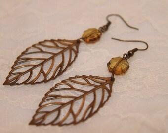 Antique Bronze Leaves Earrings