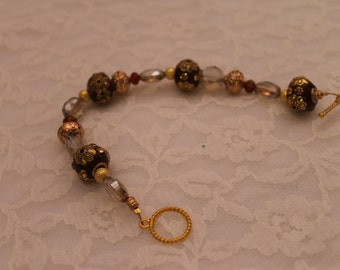 Brown and Gold Beaded Bracelet