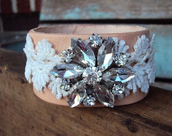 Leather and Vintage Crocheted Lace Cuff Bracelet Rhinestone Glass Medallion Butter Leather