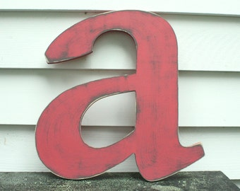 "24"" Lowercase Wooden Letter Rustic Shabby Chic Cottage Nursery Decor - Handpainted Distressed Wood Alphabet Wall Letter"
