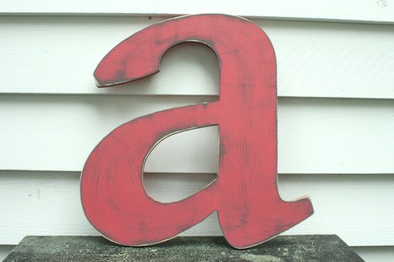 Lowercase Letters Wall Decor : Lowercase wooden letter rustic shabby chic cottage