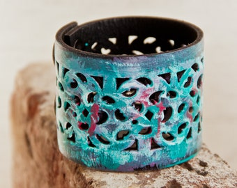 Turquoise Bracelet Hand Painted Teal Women's Leather Jewelry - Bohemian Wristbands Boho Gypsy Chic - Summer Fashion