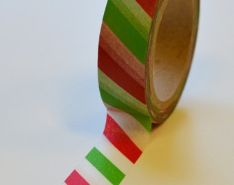Washi Tape - 15mm Red and Green Diagonal Candy Cane - Deco Paper Tape No. 1024