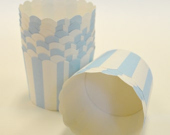 Baby Blue Stripe Nut or Portion Paper Baking Cups with Scalloped Tops - Light Blue and White - set of 24