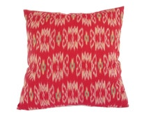 Indonesian Ikat, Pillow, Cushion, Cotton, Red