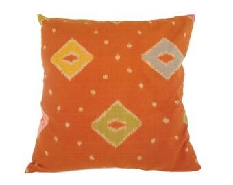 Indonesian Ikat, Pillow, Cushion, Cotton, Handwoven, 16x16, Orange
