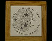 Ceramic Tile Moon and Stars Trivet with Oak Frame