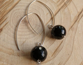 Faceted Black Onyx Balls and Sterling Silver Earrings