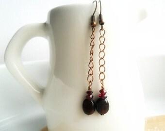 Long Chain Dangle Earrings Garnet Copper  / Rustic Boho earrings / Minimalist / Modern everyday earrings / Country western chic  / Under 25