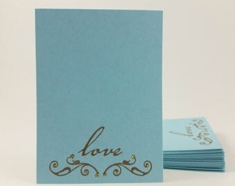 Elegant Script Love Wedding Wish Cards Wishing Tags Card Box Bridal Shower Blue Set of 30