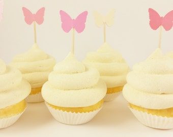50 Ombre Pink and Ivory Butterfly Cupcake Toppers Baby Shower Wedding Birthday Party