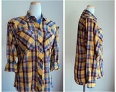 Vintage 80's Plaid Shirt // Ladies Western Snap Shirt // Yellow Red  Plaid Cowgirl Cowboy Shirt // KARMAN // Grunge Wear