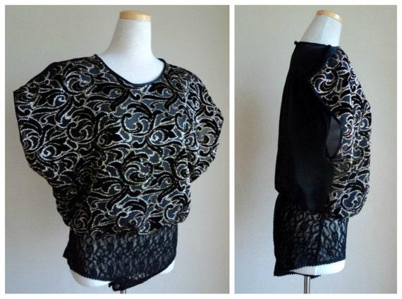 Vintage 90's Bodysuit // Lucie Ann II Black Gold Lace Bodysuit Lingerie Medium