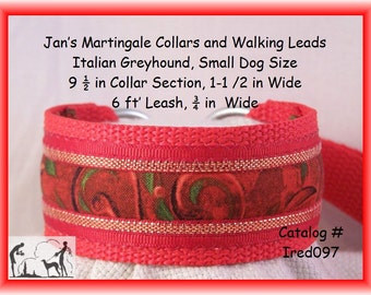 """Jansmartingales, Red  Dog Collar Leash Combination Walking Lead,  Italian Greyhound, Small Dog Size , Ired097, 9 1/2"""" Collar Section"""