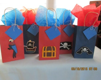 pirate favor bags, pirate party bags, birthday bags