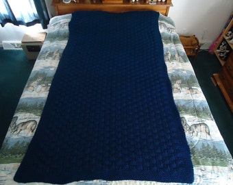 Midnight Blue Hand Knitted Basketweave Afghan, Blanket, Throw - Home Decor - Free Shipping