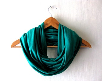 SALE - Emerald Infinity Scarf, jersey scarf, circle scarf, green, spring scarf, gift idea, for her