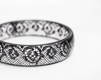 Resin Bangle Black Lace Bracelet Vintage French Lace Medium Cuff OOAK eco friendly resin jewelry