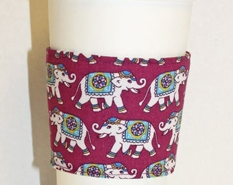 I heart Elephants- Reusable Coffee Sleeve