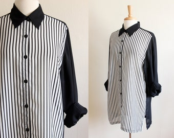 Vintage Black & White Stripe Chiffon Button Down Blouse
