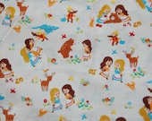 Cosmo Textiles Japanese Kawaii Fairytale Cream Princess Snow White Rose Red Cotton Fabric 1 Yard OOP Out of Print Hard To Find RARE yardage